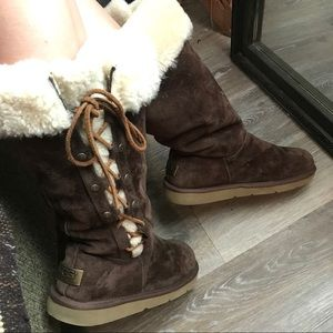 Dark brown lace up UGG Boots